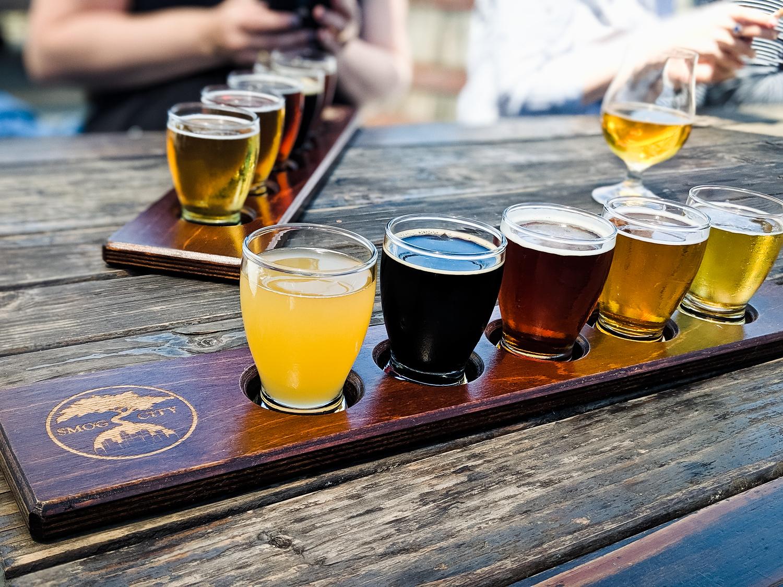 Smog City flights of beer in Torrance California.