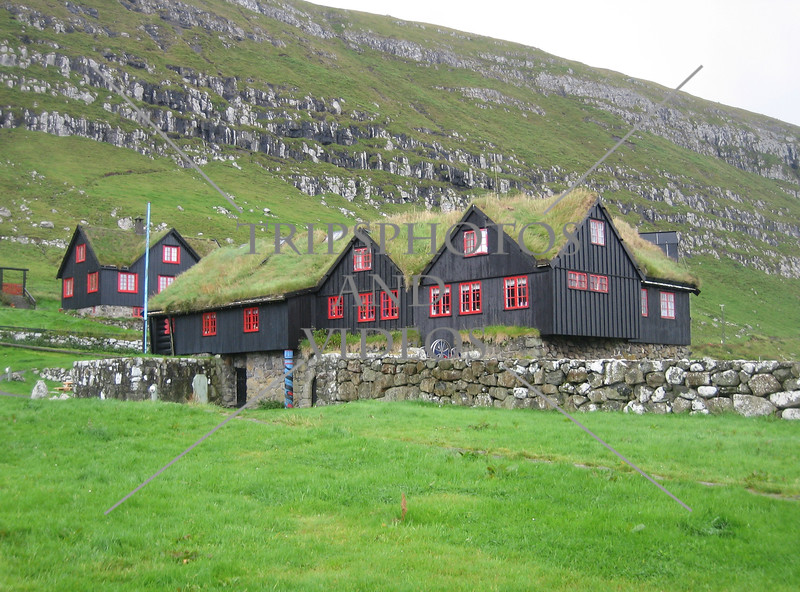 Wooden house and museum in the village of Kirkjubøur, Streymoy Island, Faroe Islands, Denmark.