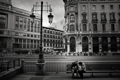 MADRID - Calle De Alcala (I think). I passed these two tourists and I remember thinking how lost and alone they looked.