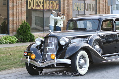 An Auburn automobile parked at the Auburn Cord Duesenberg Museum.  Back in the 1930's, this building was the home of the Auburn Automobile Company.