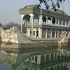 Beijing, china - the stone steam paddle boat on the lake inside Summer Palace