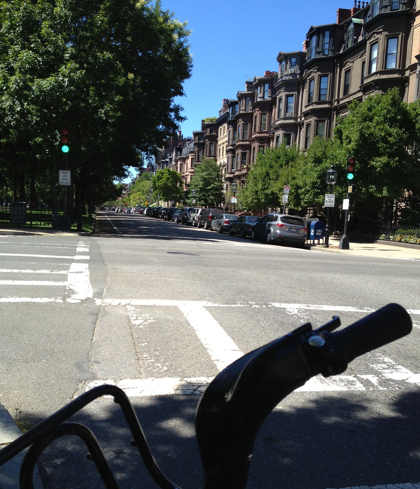 Heading down Commonwealth Ave, part of Boston's Emerald Necklace. This is a lovely stretch of road with a dedicated bike lane.