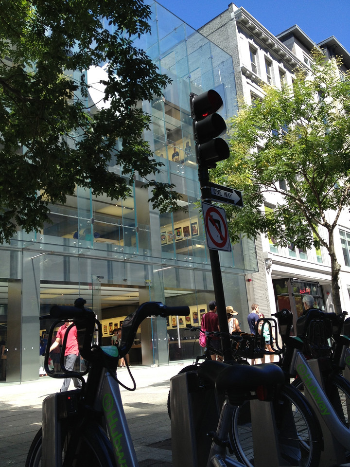 I left my bike at the Hubway station at the Apple Store on Boylston Street and spent a while on foot.<br /> <br /> I went in the Apple Store and looked around for a while, then went across the street and walked through the Prudential Center to get some ice cream.
