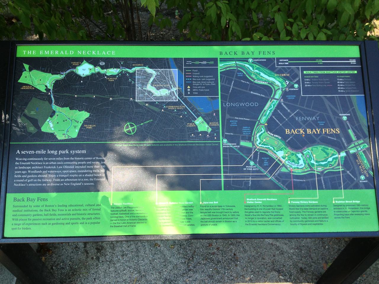 Diagram of the Emerald Necklace and the Back Bay Fens.