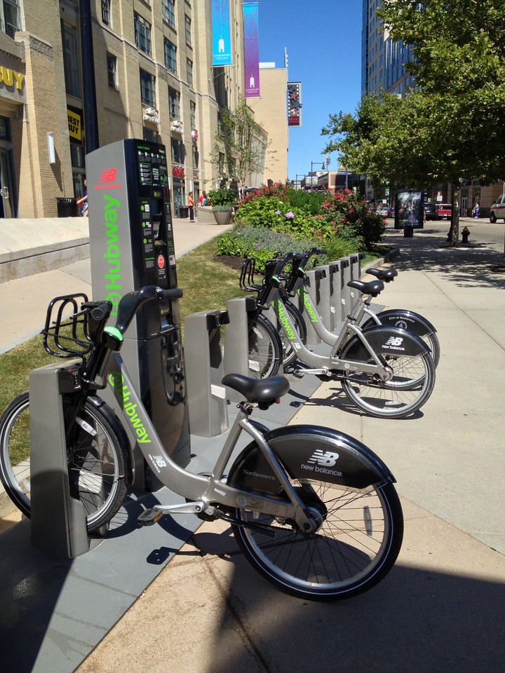 I made another exchange here at the Hubway station next to the Landmark Center.