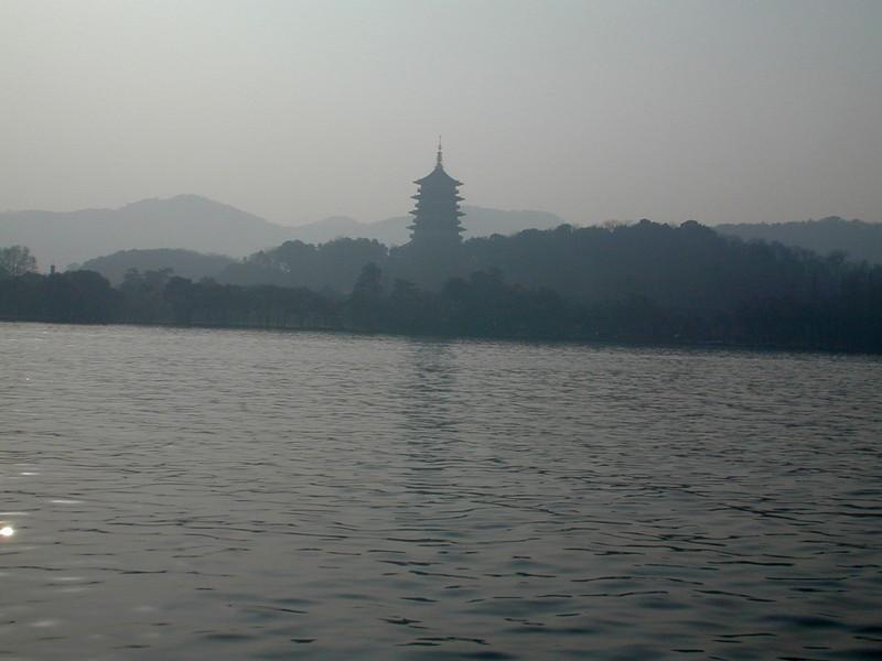Hangzhou - a pagoda on the shore of West Lake.