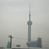 Shanghai - TV Tower, the most famous modern structure today, viewed on a foggy day