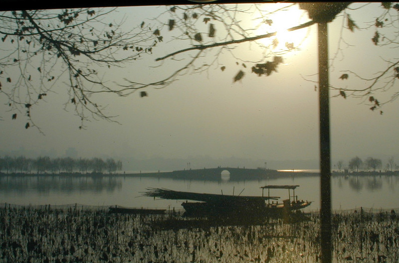"""Hangzhou - The """"Broken"""" Bridge at West Lake.  This is one of the locations depicted in the the story """"Tale of the White Serpent."""""""