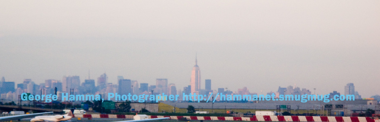 From the Newark Airport there was a pretty good view of the Manhattan Skyline.
