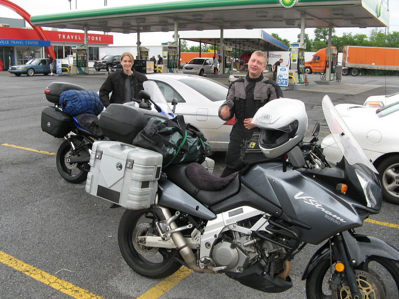 Couple hours in to the trip, stopped near Wytheville, VA for gas.  See those smiling faces!