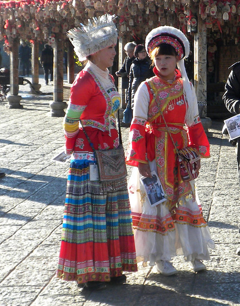 Lijiang (麗江) - two local beauties in the ethnic dress of the Bai, one of 56 recognized ethnic groups in China.