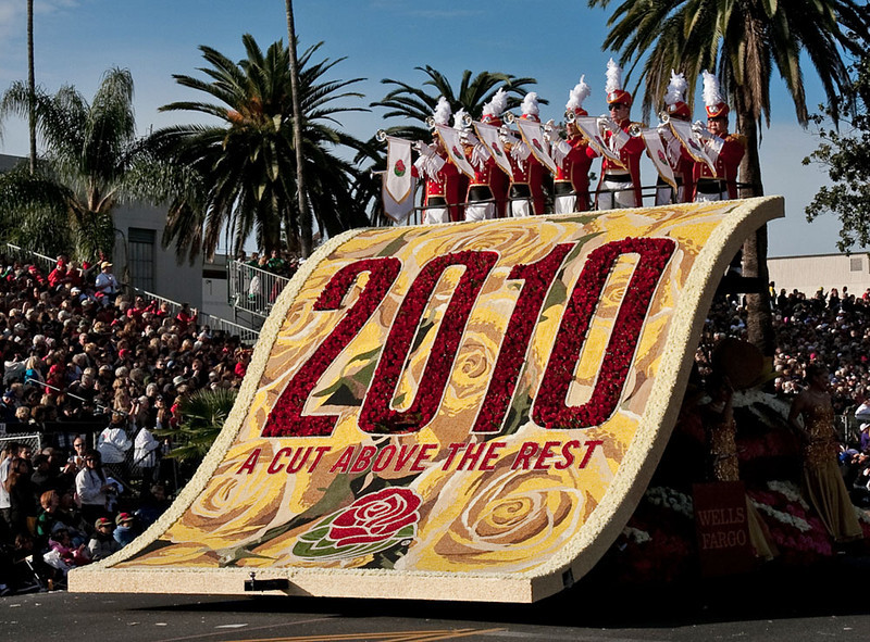 """Wells Fargo presented the first float  announcing the beginning of the 2010 Rose Parade.  The """"Cut Above the Rest"""" is the theme of the parade this year.-"""