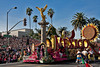 """The float celebrating Mexico's Bi-Centennial.  A gold """"Angel of Independence is depicted""""."""