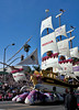 "The Honda float, ""Ship of Dreams"".. 45 ft. tall and 70 ft. long."