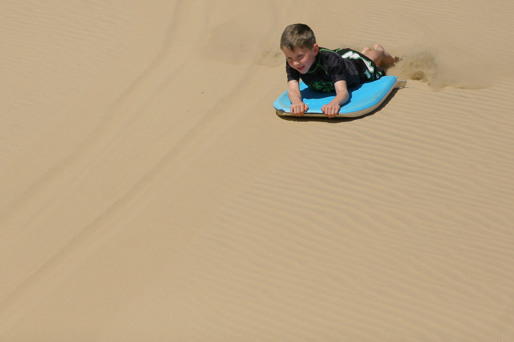 Dune surfing as part of the L.A.R.C. trip, just south of Bustard Head -  Agnes Water & Town of 1770, September 2009