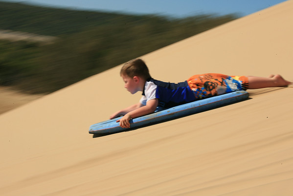A slow-shutter-speed pan of dune surfing, just south of Bustard Head, September 2009