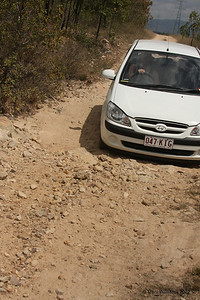 The road into Fredricks Peak. As you can see, we had a few obstacles to overcome. Townsville trip September 2007. Photo by Trent Williams