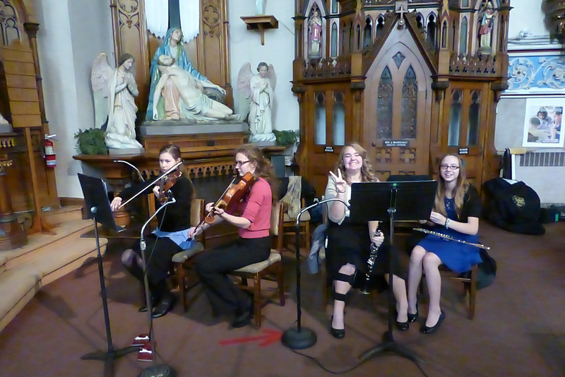 Tori and Samantha played with the musicians.