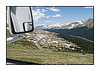 A view along Trailridge Road in Rocky Mountain National Park; shot from a moving vehicle.
