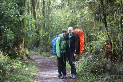 Wearing rain pants and jackets as we leave Clinton hut.