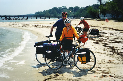 We dip our rear wheels in the Chesapeake Bay. What no one seems to mention is that doing this is work-- a loaded bike is a heavy load to drag through sand!