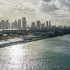 Departing Port of Miami. Riviera's embarkation tents on the left. Regent boat in middle distance still to leave and will follow us.
