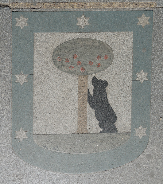 Madrid coat of arms showing the Bear and Strawberry tree