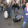 Dragging our luggages on Rome street to hotel.