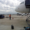 We had to go onto the tarmac to get on the plane