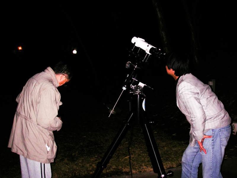 Chin and Fubao testing the telescope in Alice Springs