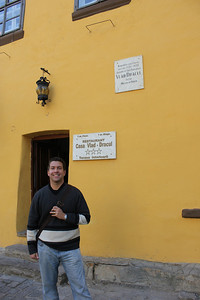 His birthplace is now a restaurant but is still standing!  The plaque behind John reads Vlad Dracul which was actually Dracula's father.   His father was a member of the Order of the Dragon (Dracul) and Dracula means son of the Dragon.