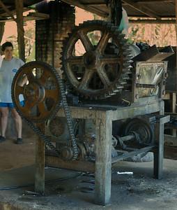 Quebradas, Costa Rica July 2013  A trapiche electric sugar cane press.