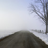 Winter road with fog.