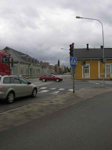 One of the more traditional-looking streets in Joensuu.