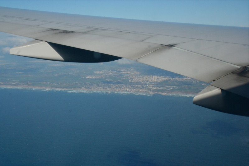 Our first view of Tel Aviv from the plane, coming in over the Mediterranean.