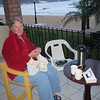 The veranda is the ideal place for Pat to relax and knit while enjoying morning coffee. Several baby blankets with matching hats were completed in 2011.
