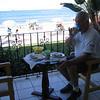 Mark enjoys lunch on the veranda.