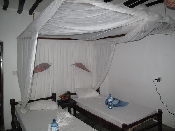Our room with mosquito nets over bed.  High end room (with electrical).