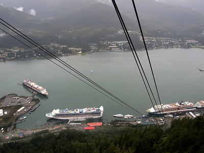 Giant cruise ships from atop Juneau Tram Copyright 2009 Neil Stahl