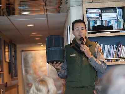 Ranger Jeff talks about bear cans. Copyright 2009 Neil Stahl