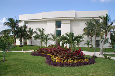 Tropical garden in front of building three