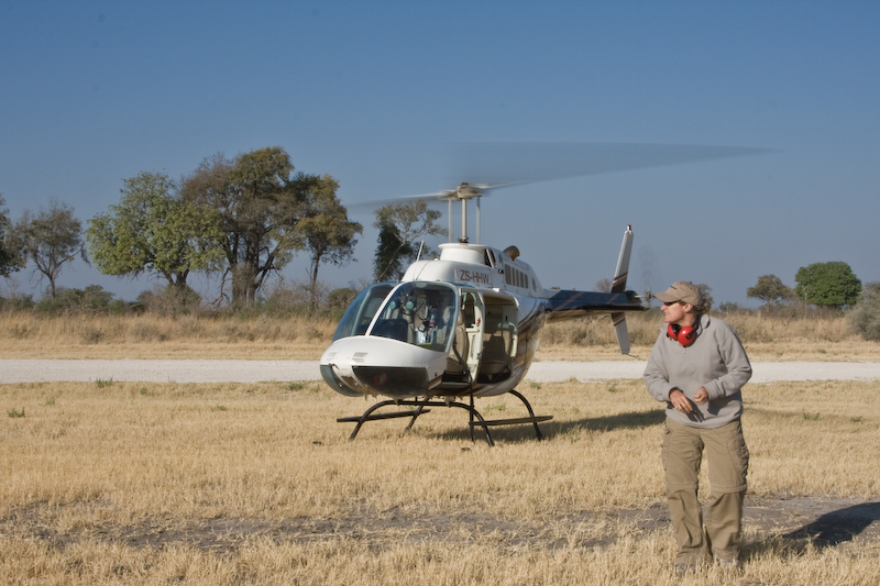 Annie prepares for our second helicopter ride