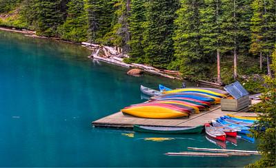 Canoes, Moraine Lake, Banff NP, Alberta, Canada, 2006