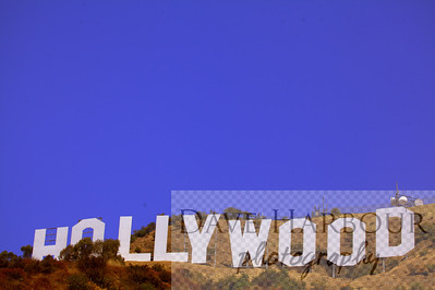 Hollywood Sign with blue sky top 2/3
