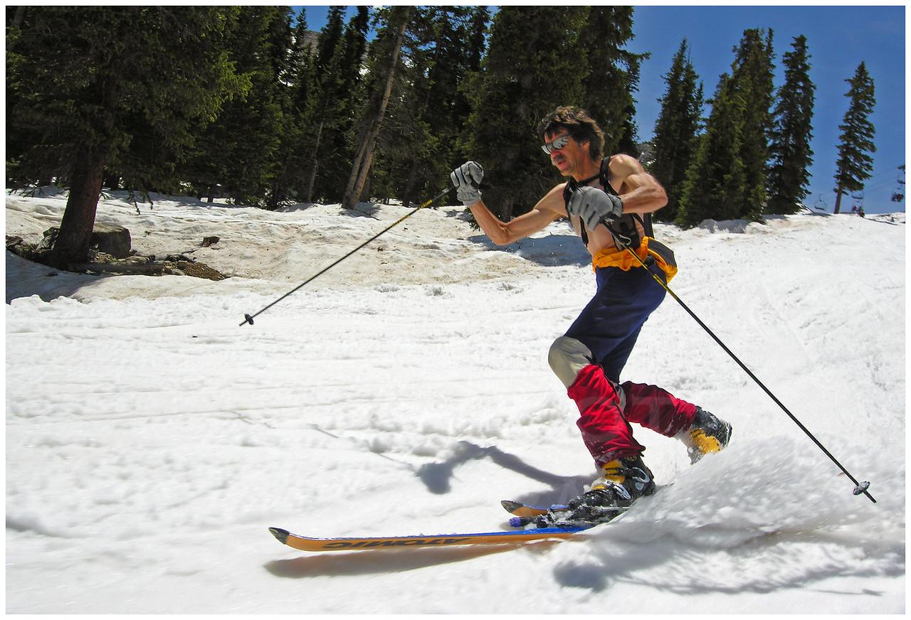 On June 6, George Scott skis the season's last day at Arapahoe Basin, Colorado.