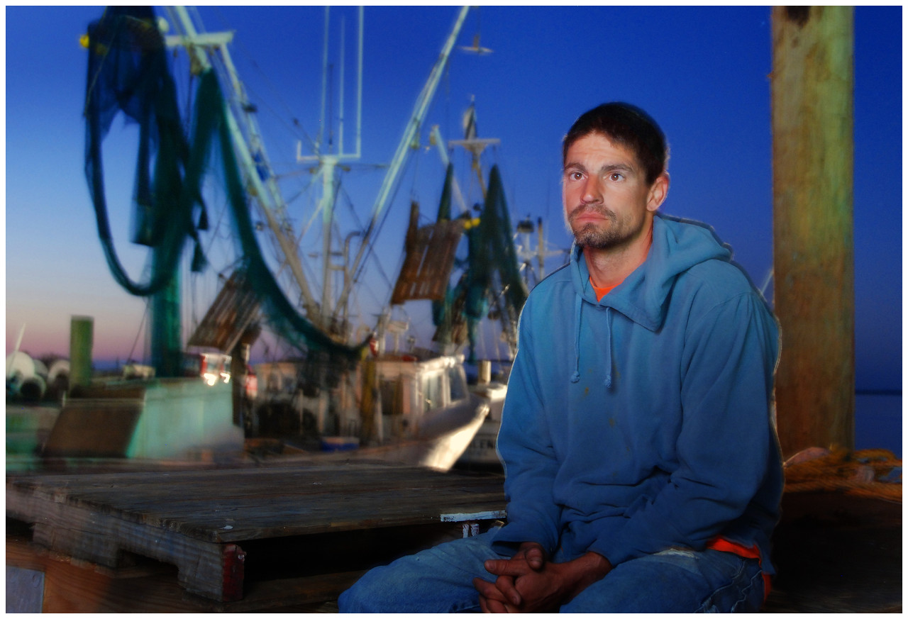 Beaufort, NC commercial fisherman Charlie Smith on the evening before a ten day offshore trip.