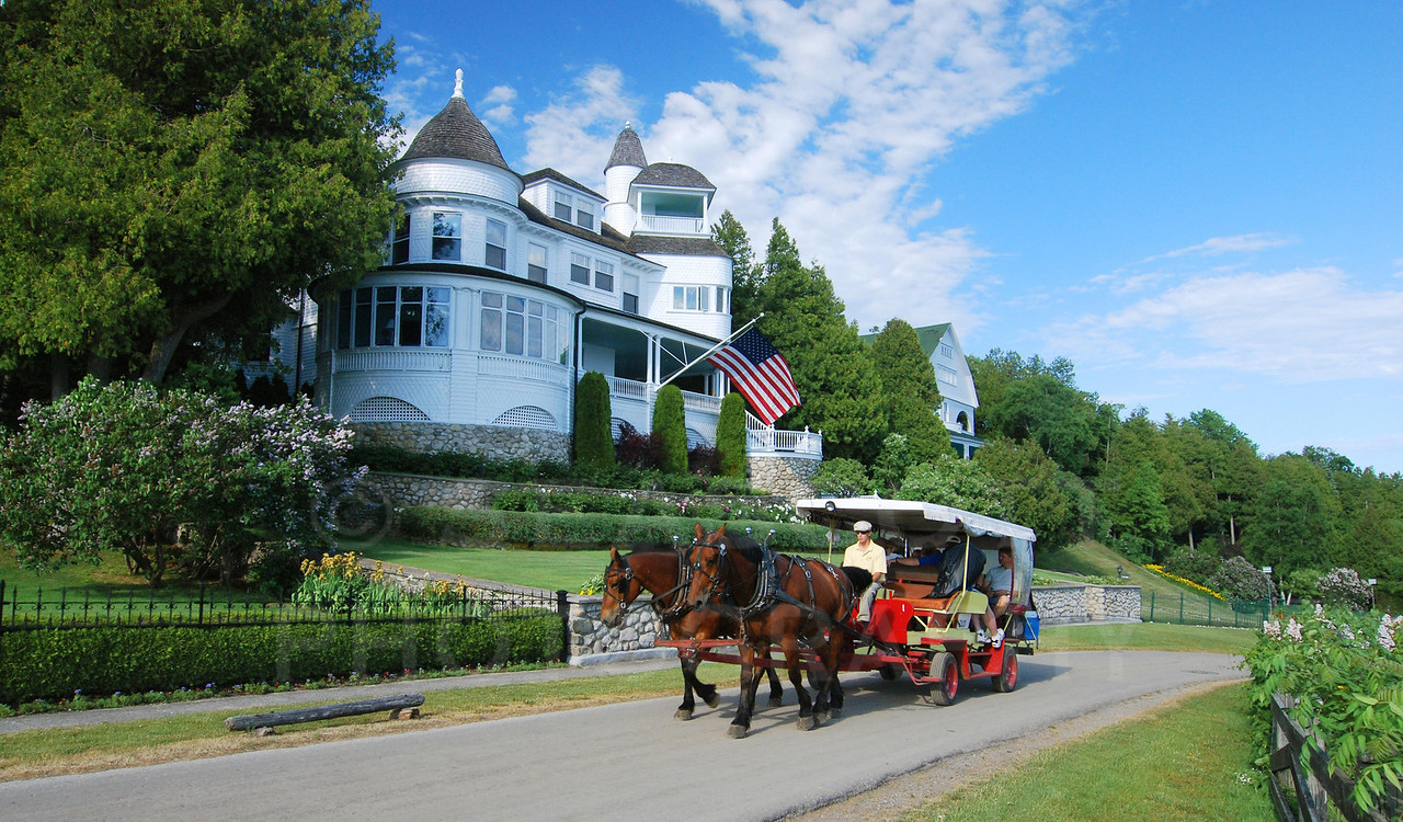 Cars are banned on Mackinac Island, Michigan.