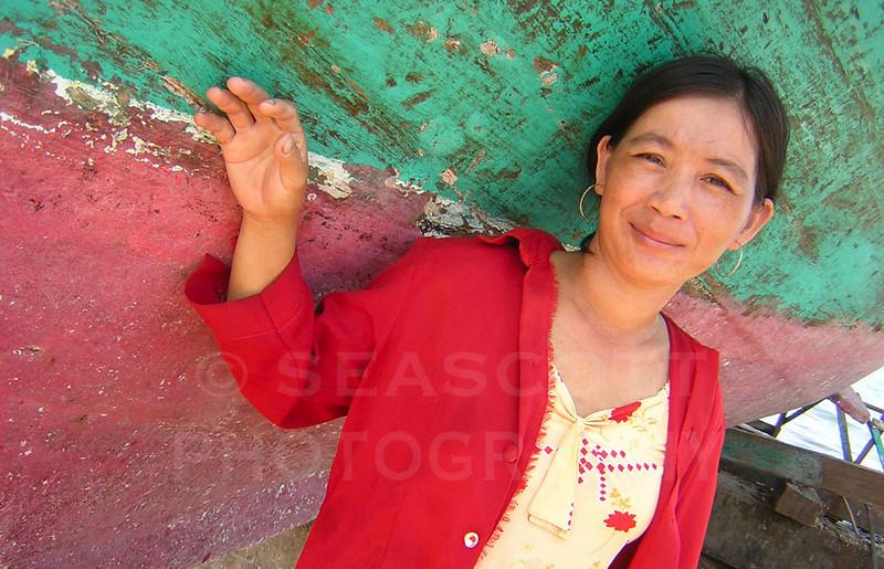 Fisherman's wife.  Sihanoukville, Cambodia
