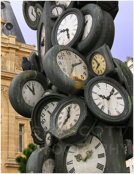A clock tower sculpture outside the Gare St. Lazare, Paris.