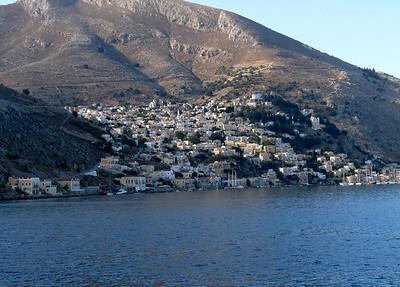 Approaching Symi main town Gialos